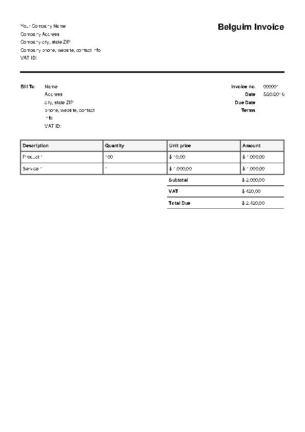 Belguim Invoice Template