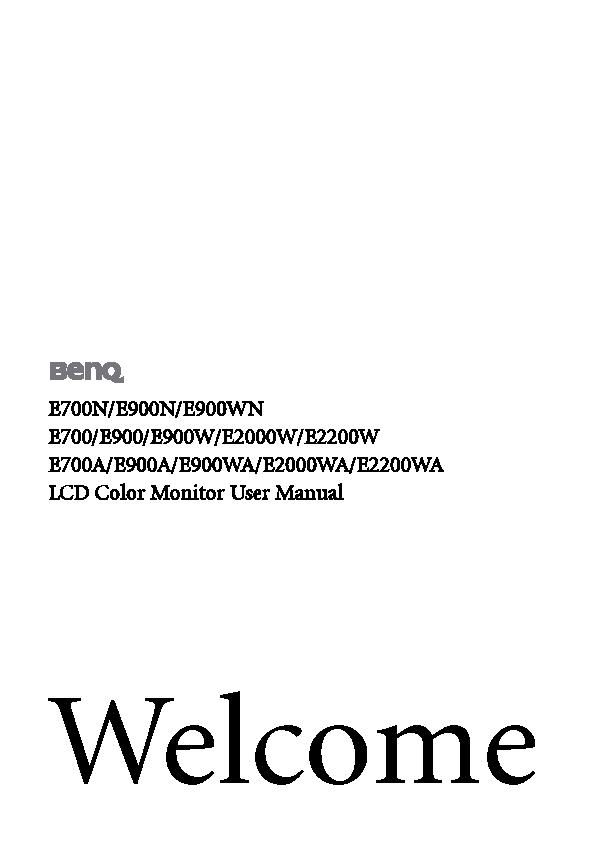 Benq Users Manual Sample