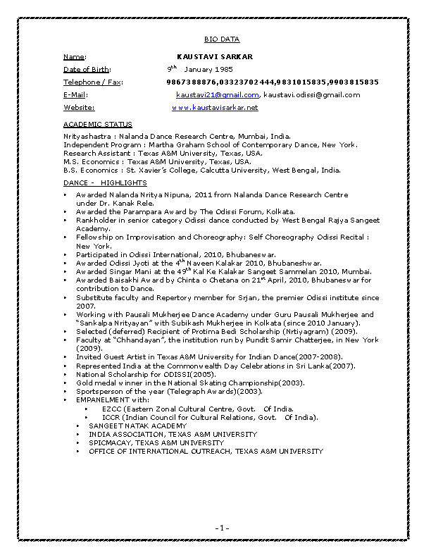 Bharatanatyam Dancer Resume