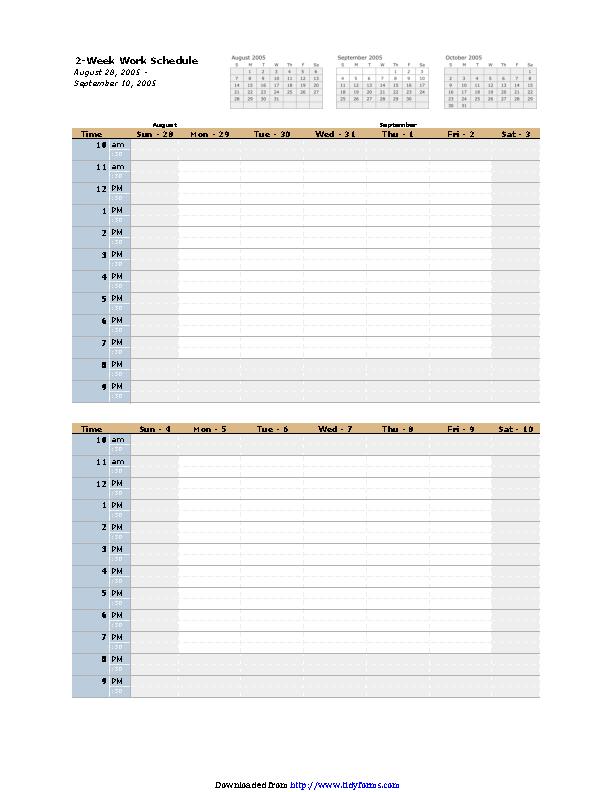 Bi Weekly Schedule Template