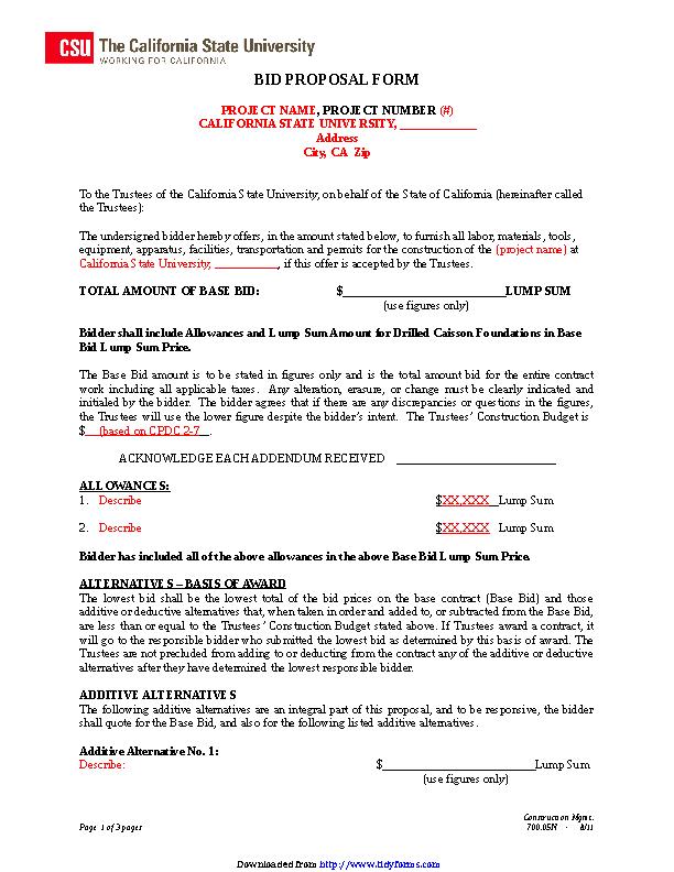 Bid Proposal Template 3