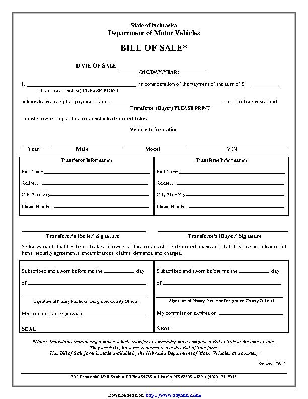 Bill Of Sale Nebraska Dmv