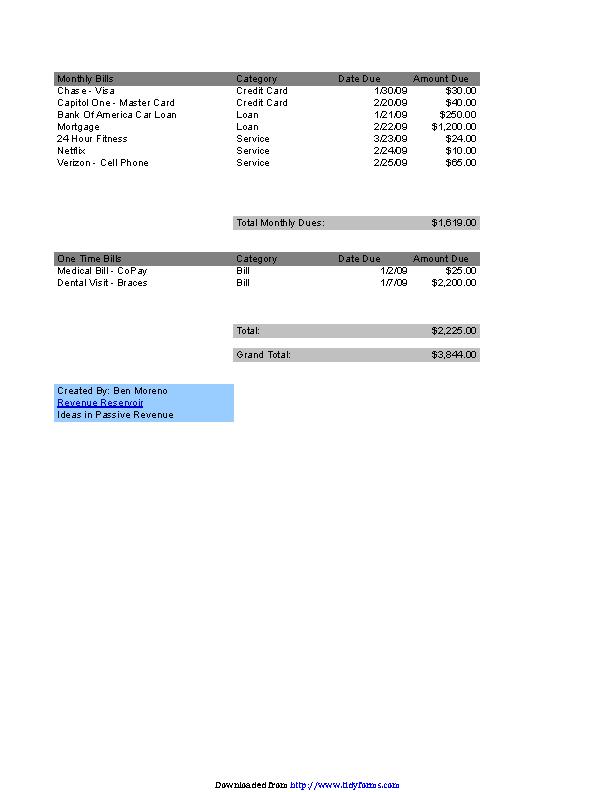 Bill Payment Organizer Chart