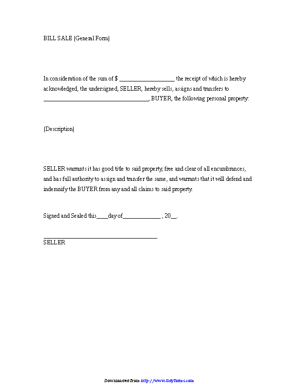 Bill Sale General Form