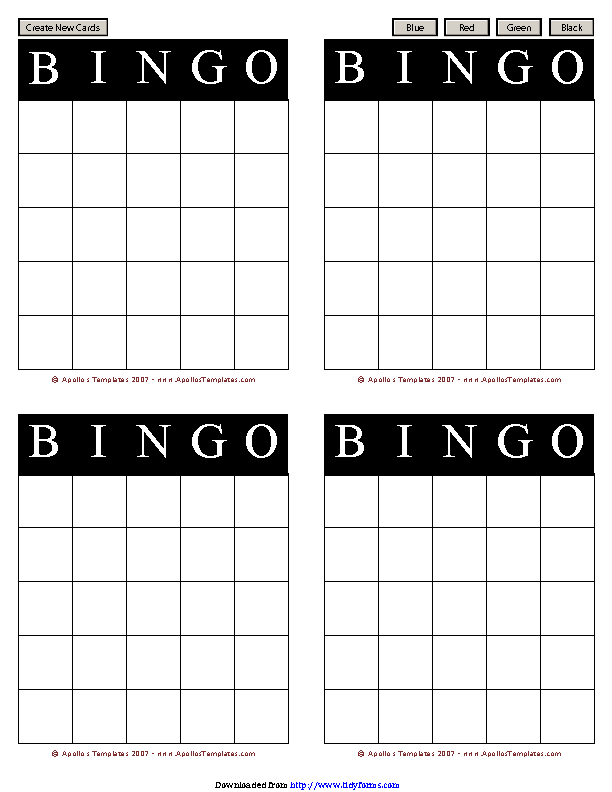 Bingo Card Template 1