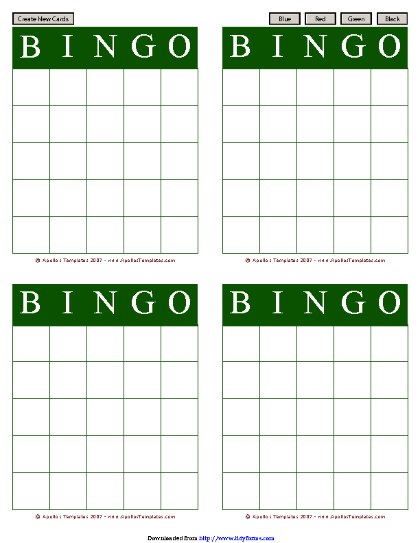 Bingo Card Template 2