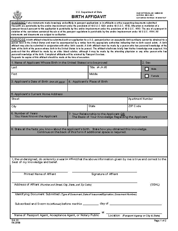 Birth Affidavit