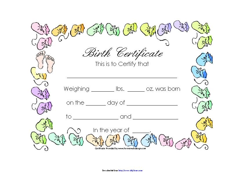 Birth Certificate Template 1