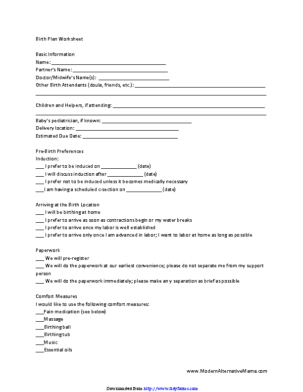 Birth Plan Worksheet 2