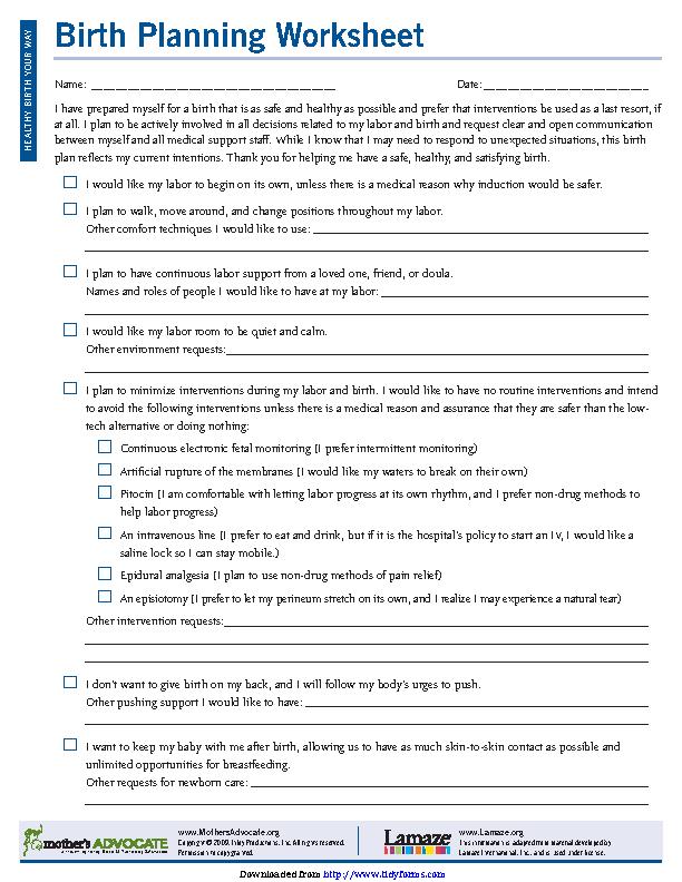 Birth Plan Worksheet 3