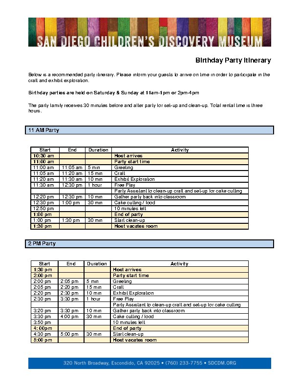 Birthday Party Itinerary Template