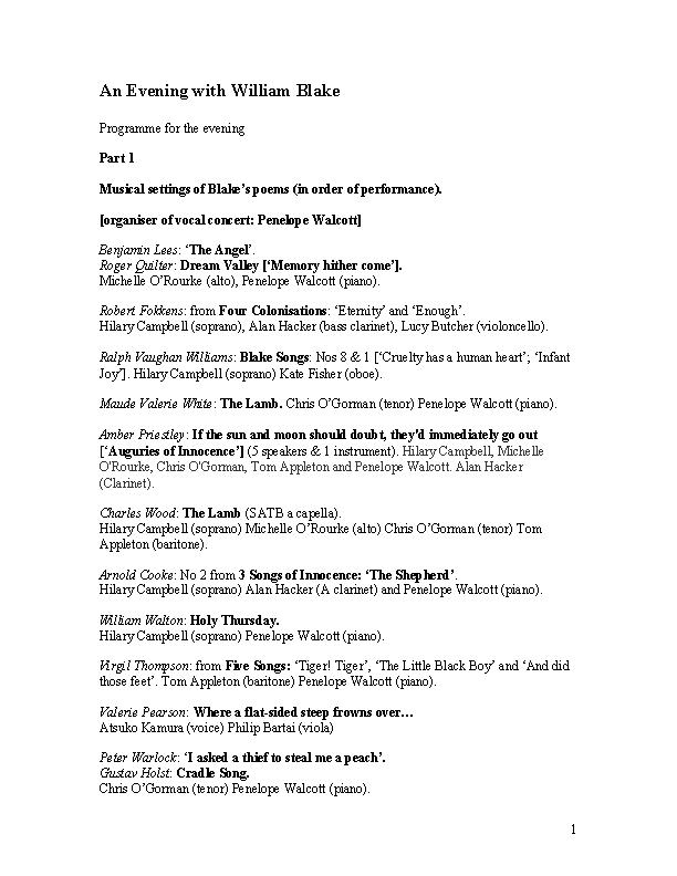 Blake Concert Programme Template
