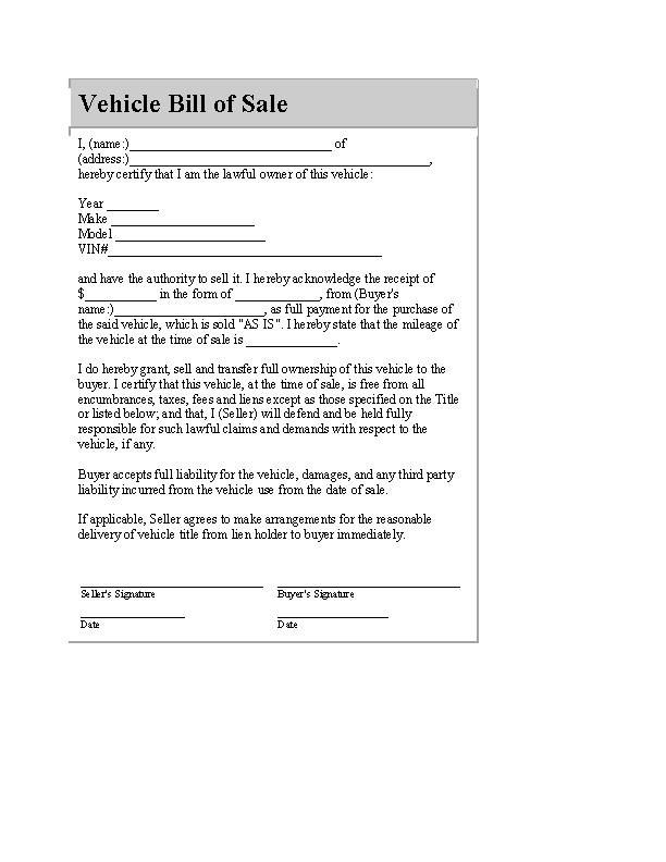 Blank Automobile Bill Of Sale