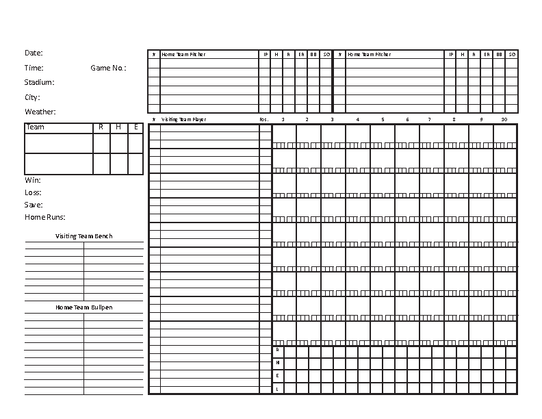 Blank Baseball Scorecard Template