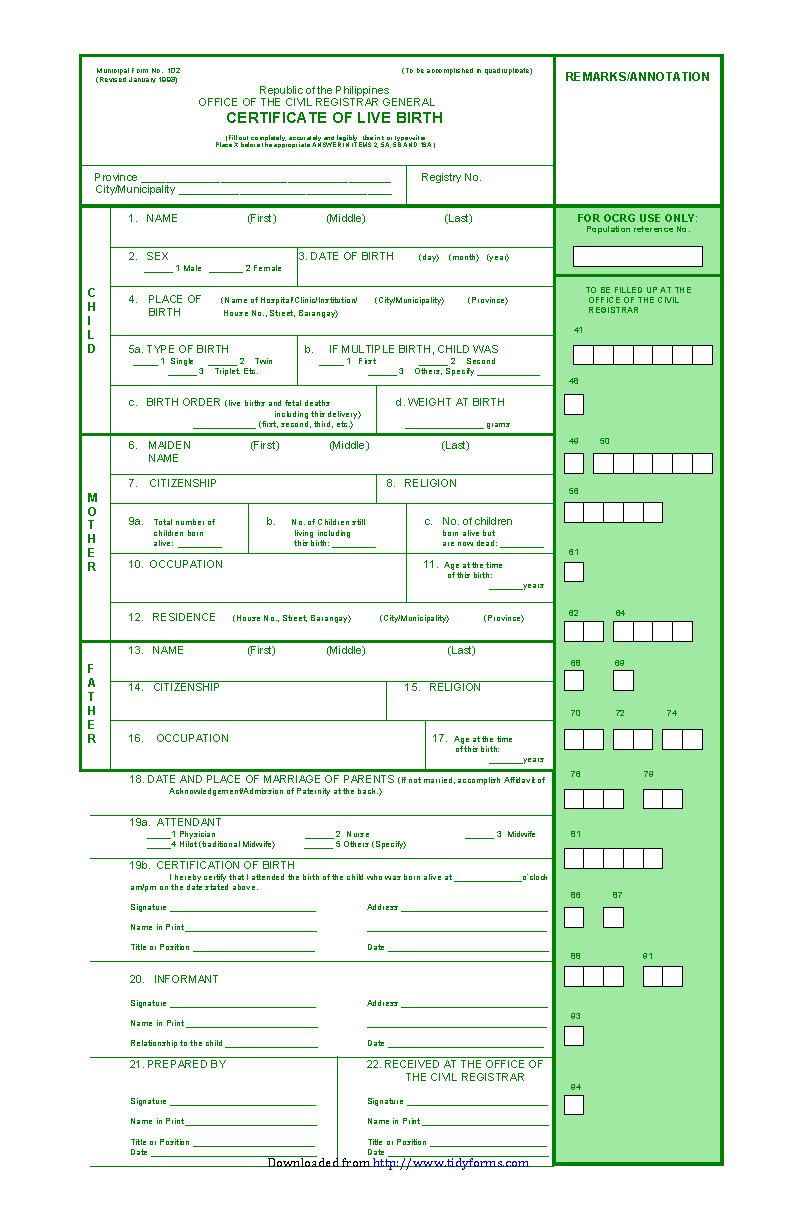 Blank Birth Certificate Form