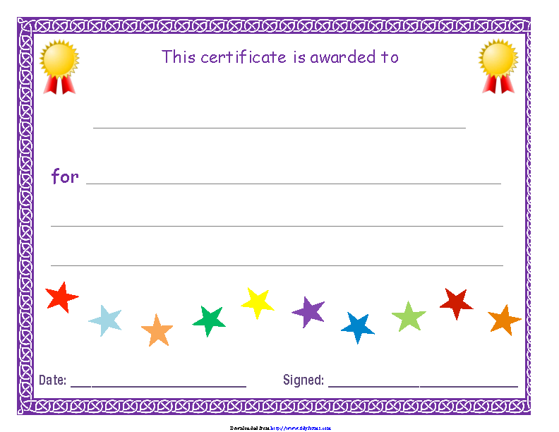 Blank Certificate Purple Theme