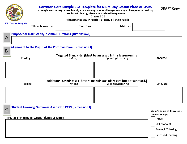 Blank Common Core Sheet Template2