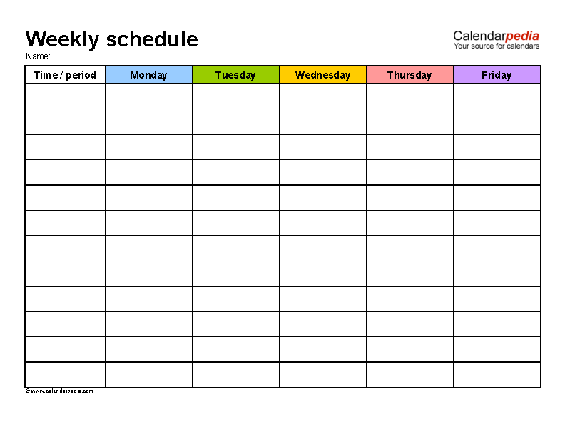 Blank Daily Weekly Work Schedule Template Word Format