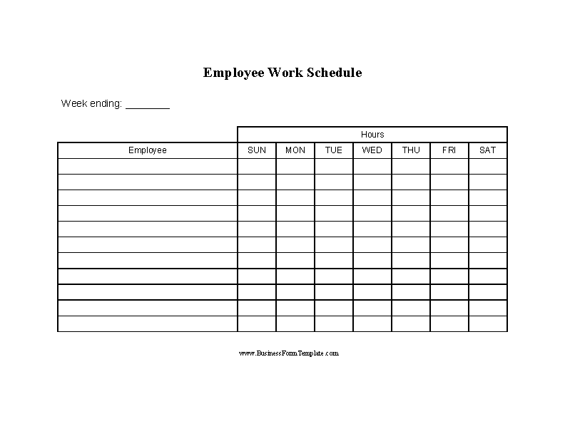 Blank Employee Work Schedule Template Word Doc
