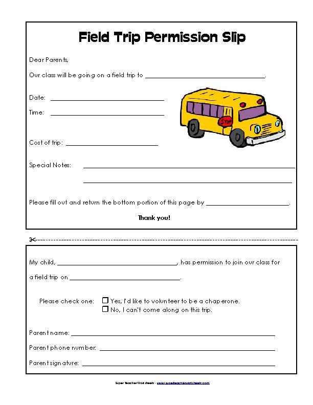 Blank Field Trip Permission Slip Template For School