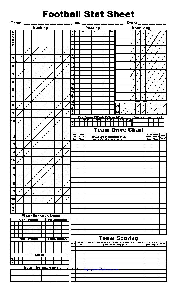 Blank Football Stat Sheet