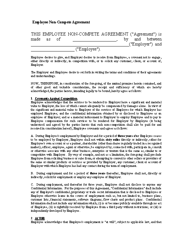 Blank Form Of Non Compete Agreement 1