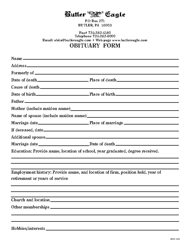 Blank Funeral Obituary Template Free Download