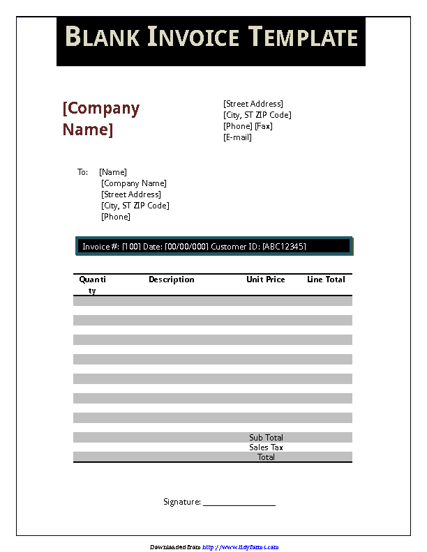 Blank Invoice Template 3