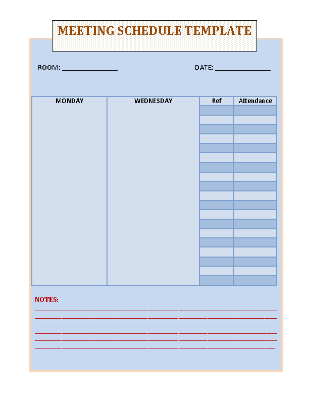 Blank Meeting Schedule Template Free Download