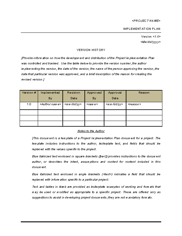 Blank Project Implementation Plan Template