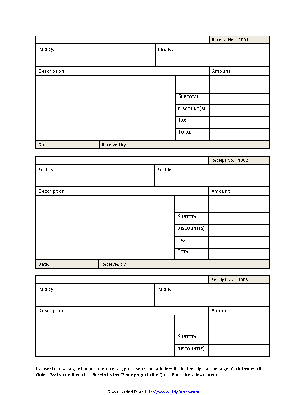 picture relating to Blank Receipt Template titled Blank Receipt Template 2 - PDFSimpli