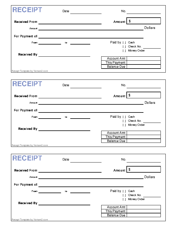 picture regarding Blank Receipt Template identified as Blank Receipt Template - PDFSimpli