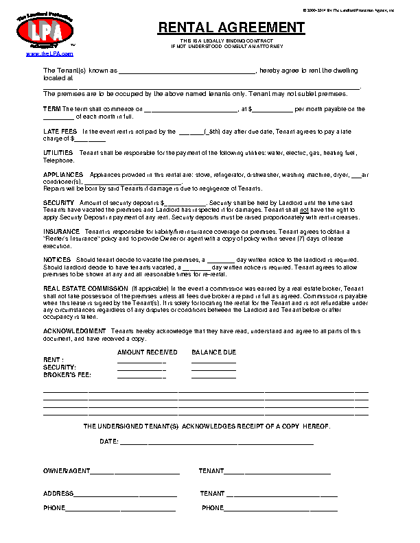 Blank Rental Agreement Of Apartment