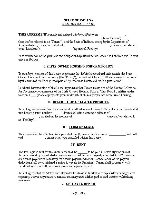 Blank Residential Rental Agreement