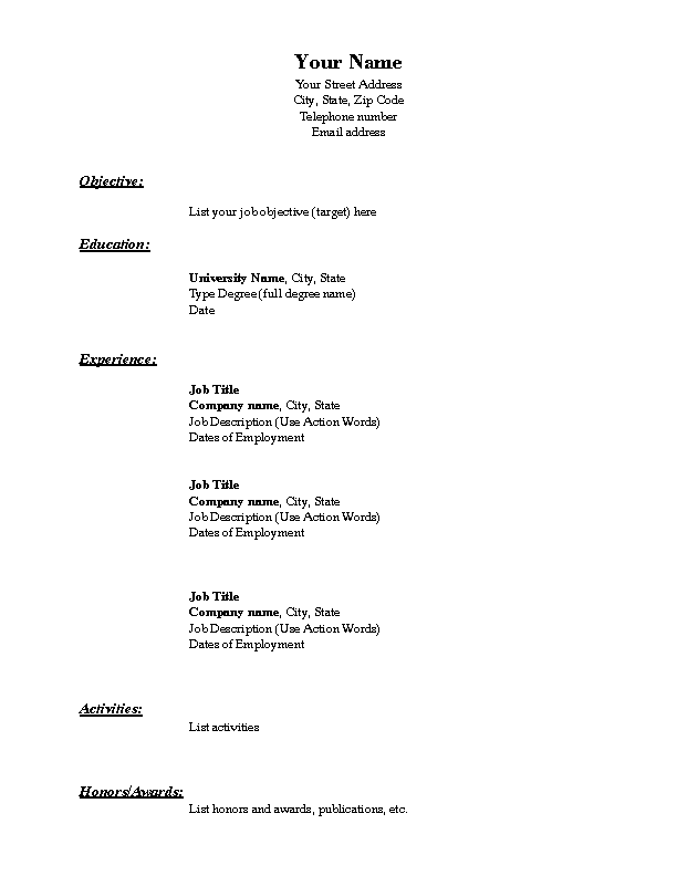 Blank Resume Template Chronological Format In Pdf Download ...
