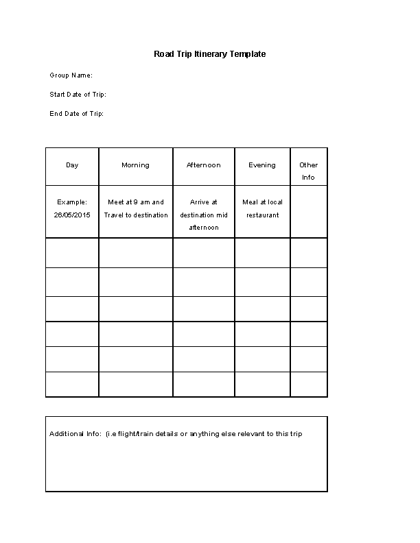 Blank Road Trip Itinerary Template Free Download