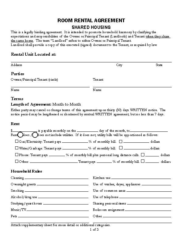 Blank Room Rental Agreement Template