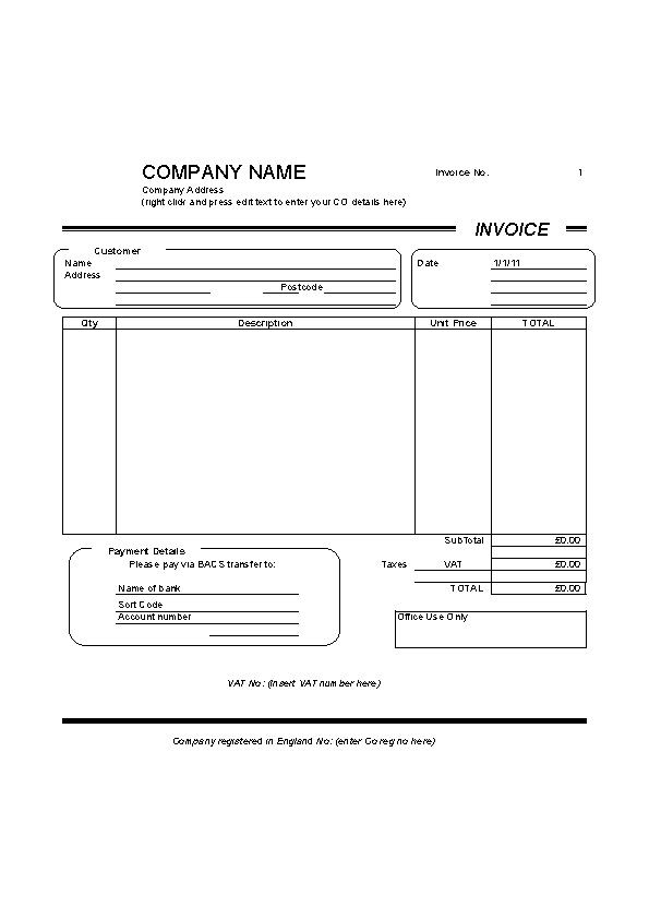 Blank Self Employed Invoice Template