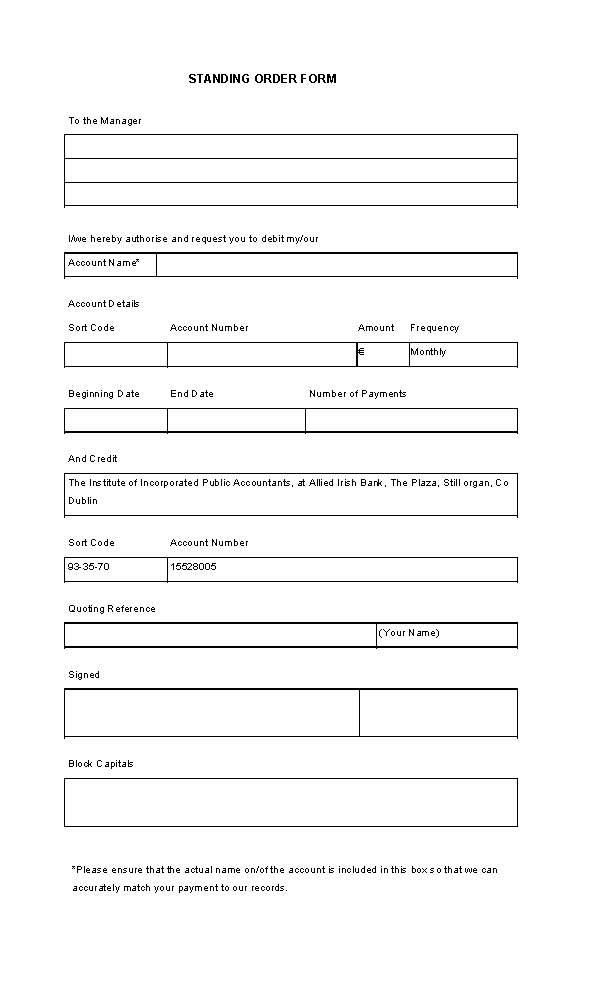 Blank Standing Order Template