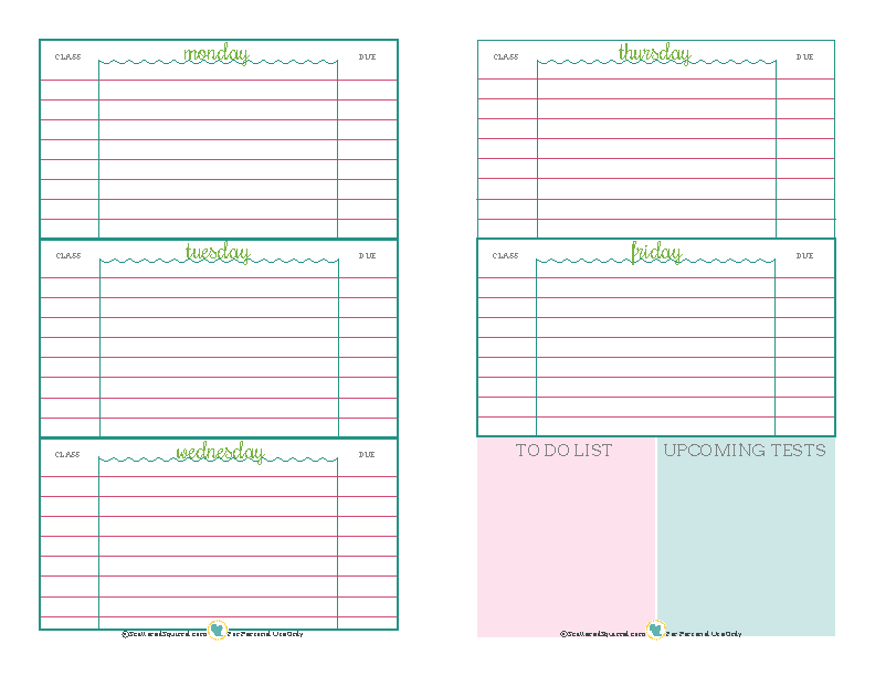 Blank Student Daily Planner Template