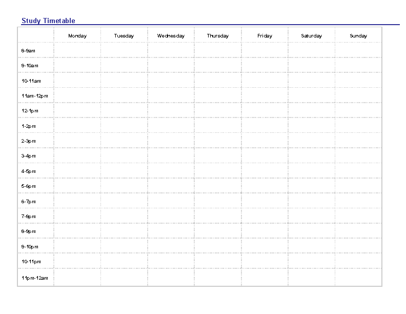 Blank Study Timetable Template