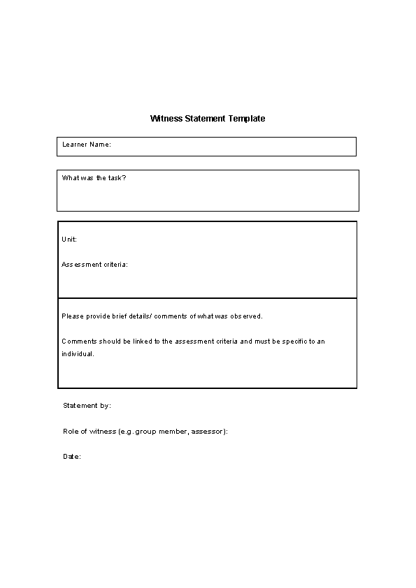Blank Witness Statement Template Free Download