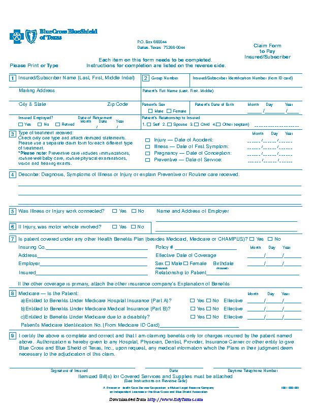 Blue Cross Blue Shield Association Medical Claim Form 1