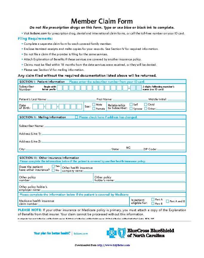 Blue Cross Blue Shield Association Member Claim Form