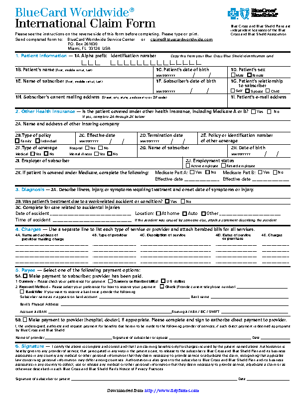 Blue Cross Blue Shield International Medical Claim Form