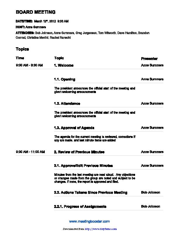 Board Meeting Agenda Template 3