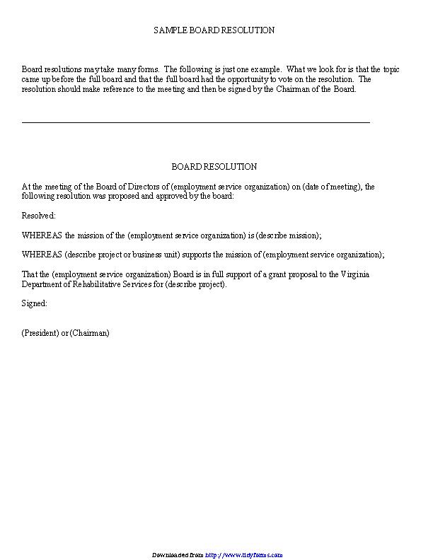 Board Resolution Sample 1