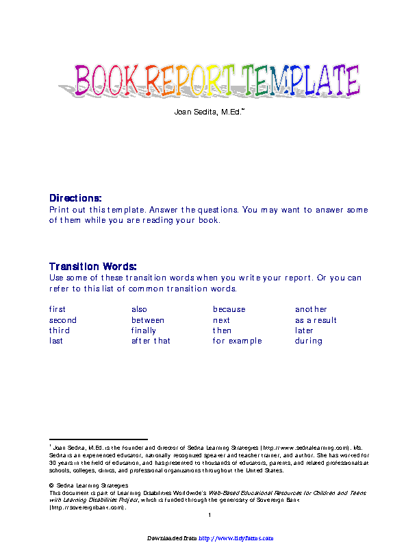 Book Report Template 1