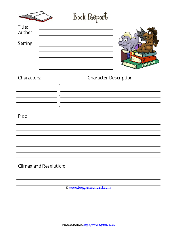 Book Report Template 2