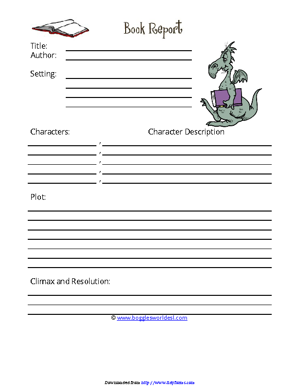 Book Report Template 3